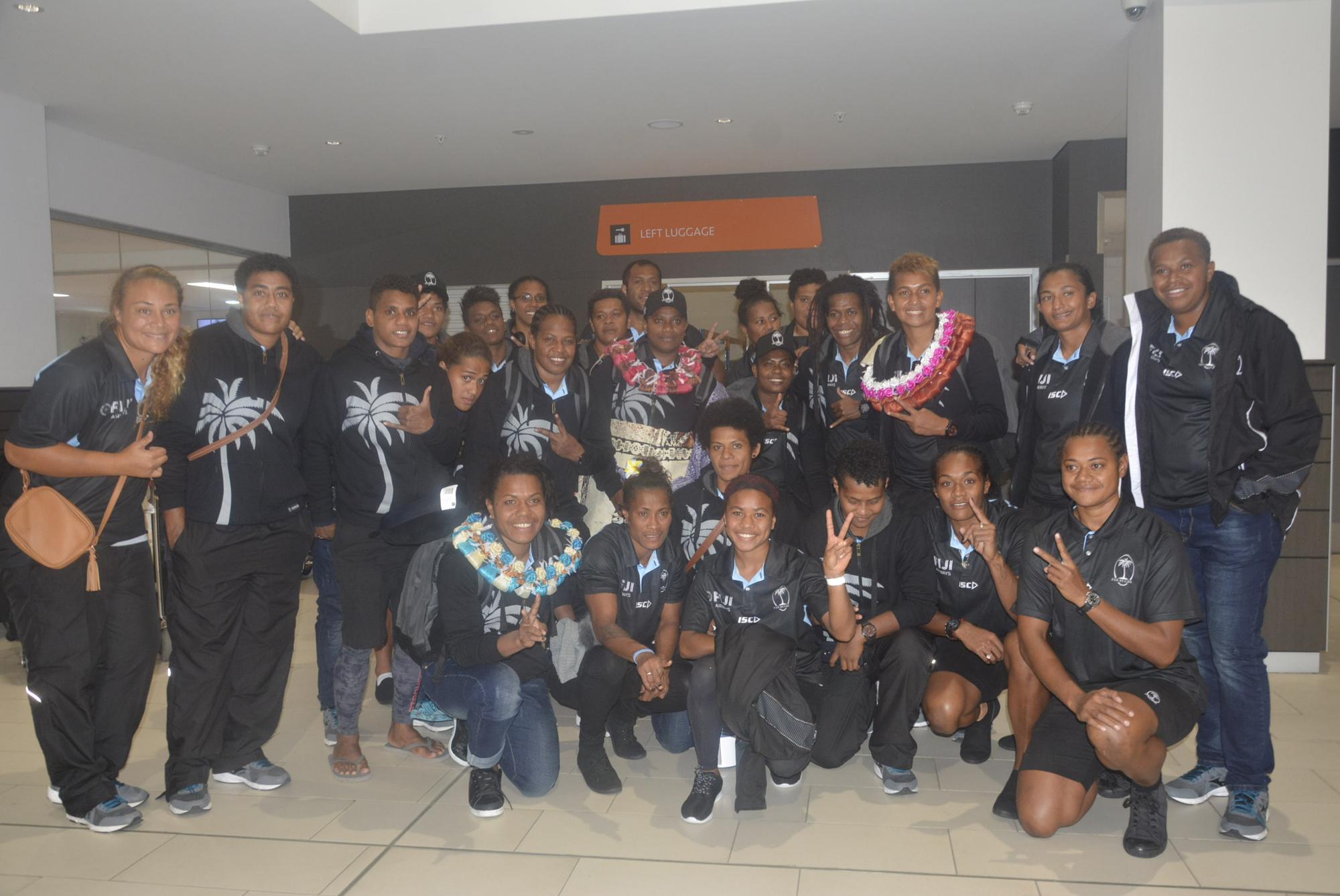 Fiji Airways Fijiana 15s Team at Nadi International Airport. Picture: REINAL CHAND
